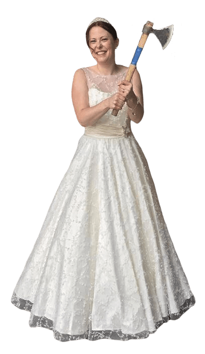bride at axe throwing bachelorette party