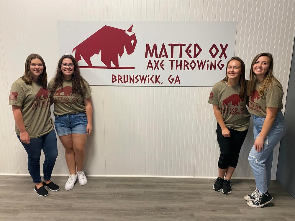 brunswick axe throwers at Matted Ox